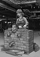 Sub gets bricked up by female construction worker who then bangs his ass